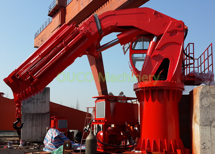 5T 20M Hydraulic Knuckle Crane Custom Color With Pedestal Electrical Motor