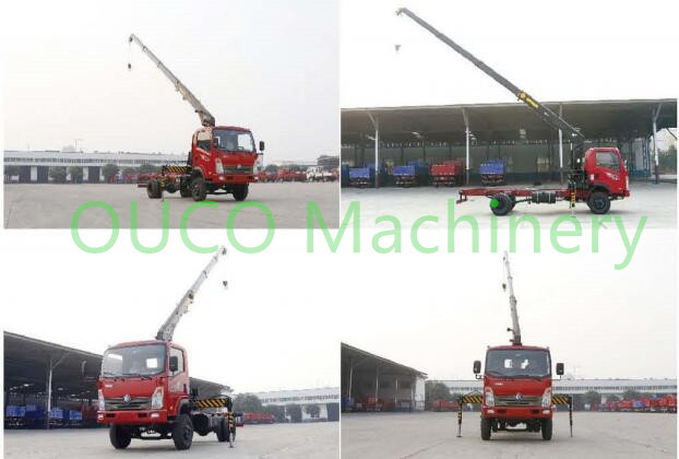 Loading Cargoes Truck Mounted Boom Crane , Stiff And Telescopic Knuckle Boom Crane